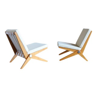 Scissor Lounge Chairs by Pierre Jeanneret for Knoll International - a Pair For Sale