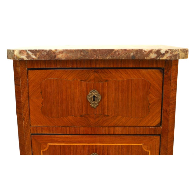 19th C. French Inlaid Walnut and Marble Semanier For Sale - Image 4 of 5