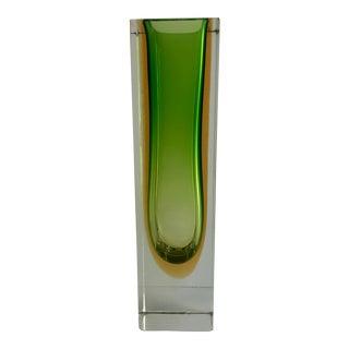 1970s Murano Sommerso Green & Orange Vase For Sale