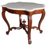 Image of Antique Victorian Carved Walnut & Marble Turtle Back Parlor Table, 19th Century For Sale