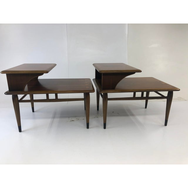 Vintage Lane Acclaim Step Tables. Matching pair. Two tiered tables with beautiful inlaid exaggerated dovetail tops. Made...