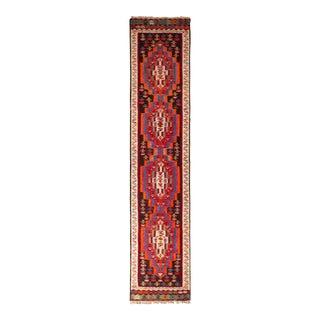 1950s Vintage Mid-Century Kermanshah Kilim Red and Beige-Brown Persian Runner For Sale