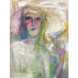 """Woman With Martini!"" by Trixie Pitts Large Abstract Oil Painting For Sale"