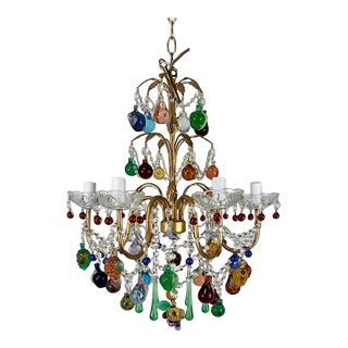1980s 6 Arm Murano Glass Fruit Chandelier For Sale