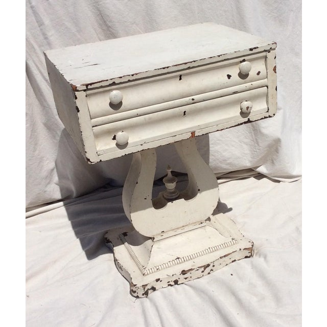 French Country Distressed White Painted Side Table For Sale - Image 3 of 10