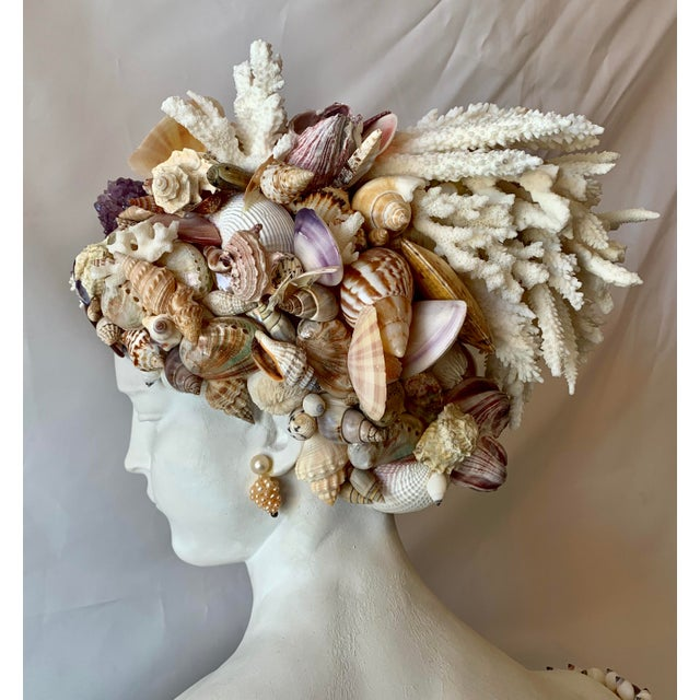 Contemporary Young Girl Seashell Bust Sculpture For Sale - Image 3 of 6