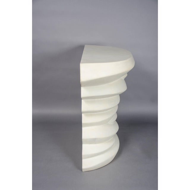 2010s Robert Kuo Hand Repoussé Jie Design Cream Lacquer Demi Lune Table For Sale - Image 5 of 7