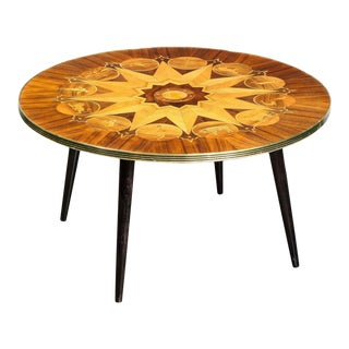 Midcentury Bookmatched Walnut & Elm Cocktail Table with Zodiac Themed Marquetry For Sale