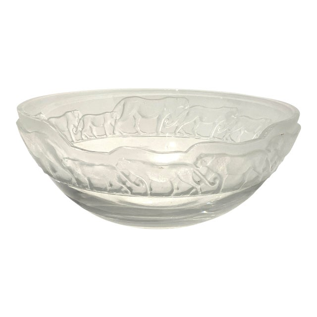 Art Deco Revival Nachtmann Safari Leopard Bowl Frosted and Clear Lead Crystal For Sale