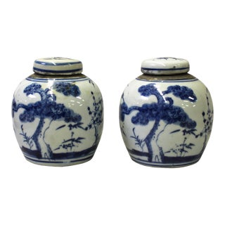 Blue White Oriental Graphic Porcelain Ginger Jars - A Pair