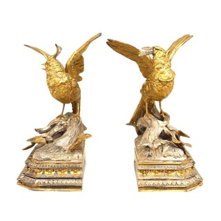 Pair of French Victorian Silver and Gilt Bookends For Sale