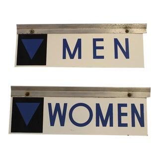 1950s Enamel Gas Station Men & Women Restroom Signs - A Pair For Sale