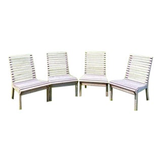 Teak Outdoor Side Chairs - Set of 4