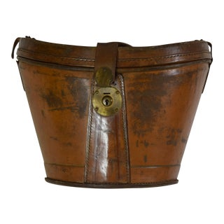 19th-Century Leather Case w/Beaver Top Hat