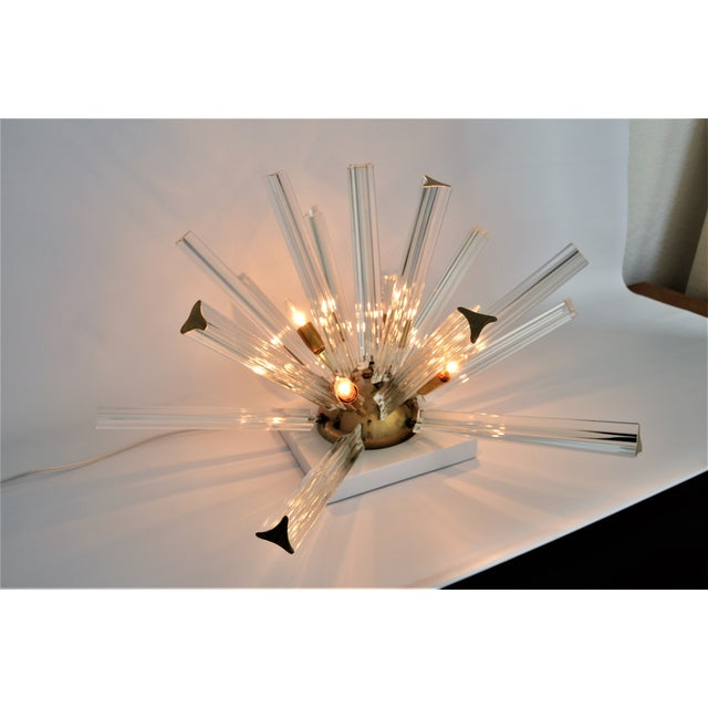 Venini Mid-Century Modern Italian Murano Glass & Brass Sputnik Table Lamp - Image 12 of 12