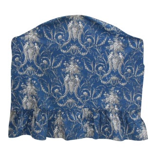 Antique 19th Century French Prussian Blue Toile Fabric Headboard Slipcover C. 1870 For Sale