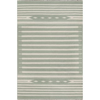 "Erin Gates by Momeni Thompson Billings Light Green Hand Woven Wool Area Rug - 7'6"" X 9'6"" For Sale"