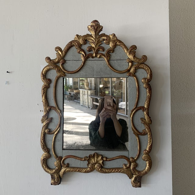 18th Century French Mirror With Carved and Gilded Overlay For Sale - Image 9 of 13