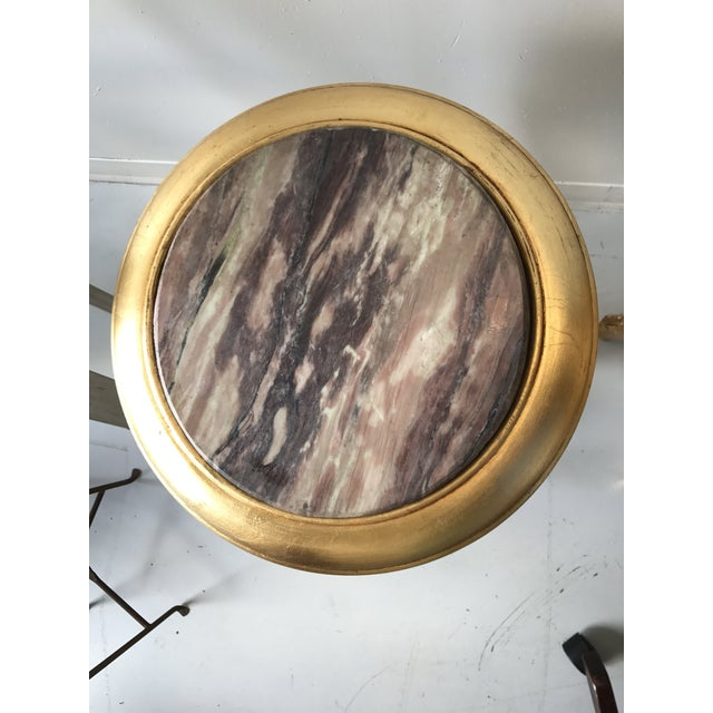 Stone Gilded Marble Top Side Tables - A Pair For Sale - Image 7 of 8
