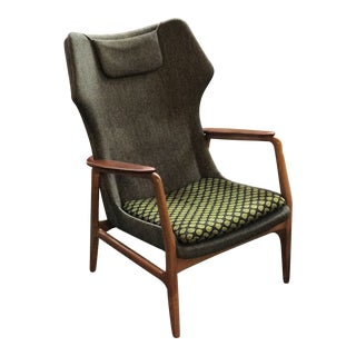 Bender Madsen Upholstered Teak High Boy Lounge Chair For Sale