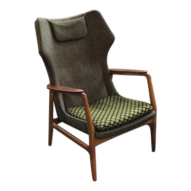 Bender Madsen Upholstered Teak High Boy Lounge Chair For Sale