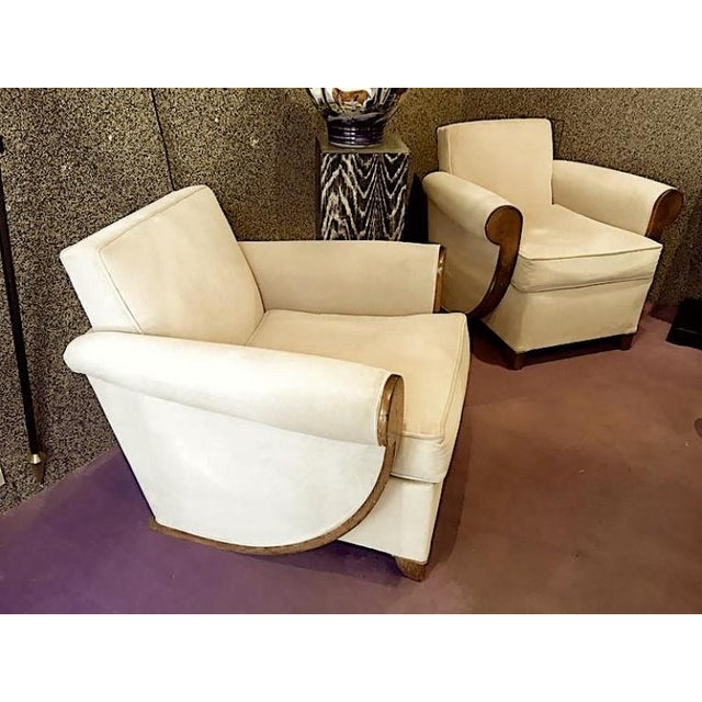 Art Deco Louis Sognot Superb Comfortable Pair of Club Chairs in Cerused Oak For Sale - Image 3 of 7