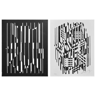 Pop Art Victor Vasarely Black and White Optical Prints For Sale