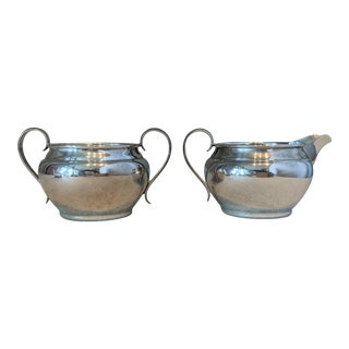 1950s Gorham Sterling Silver Creamer & Sugar Bowl - a Pair For Sale