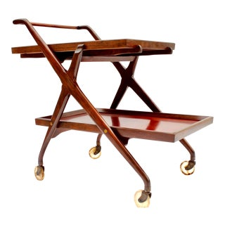 Mid Century Modern Bar Cart W Removable Serving Tray For Sale