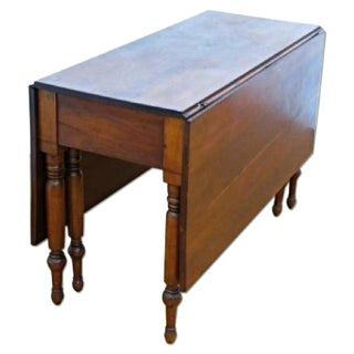 Antique Early Cherry Drop Leaf Spindle Legs Table Console Preview