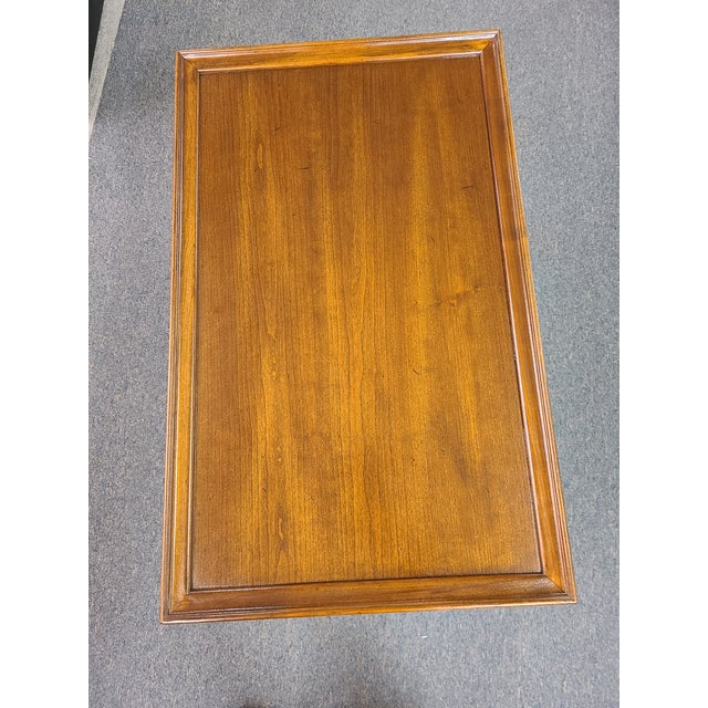 Brick Red Vintage Ethan Allen Georgian Court Mahogany Tea Table For Sale - Image 8 of 11