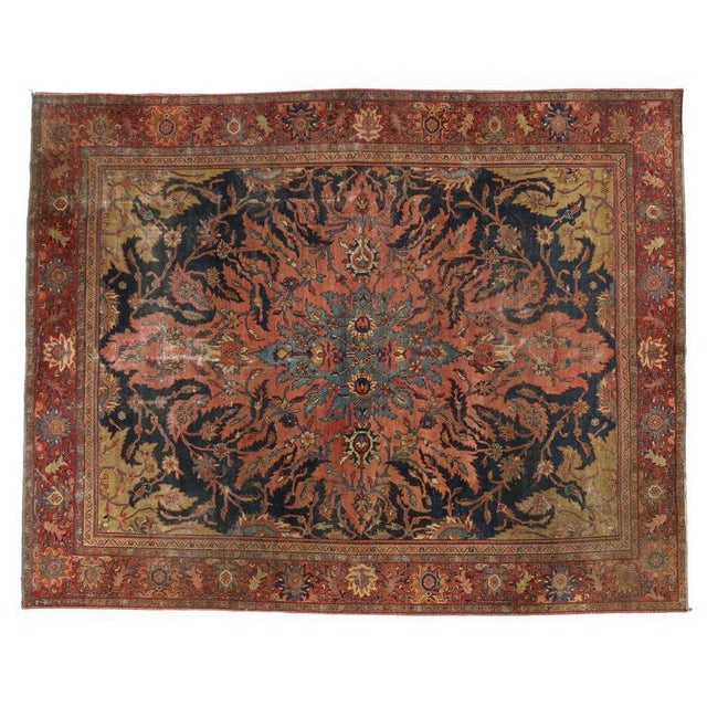 Antique Farahan Rug with Modern Industrial Style, Persian Area Rug For Sale - Image 4 of 8