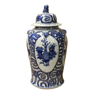 Chinese Blue & White Flowers Theme Porcelain Large General Jar