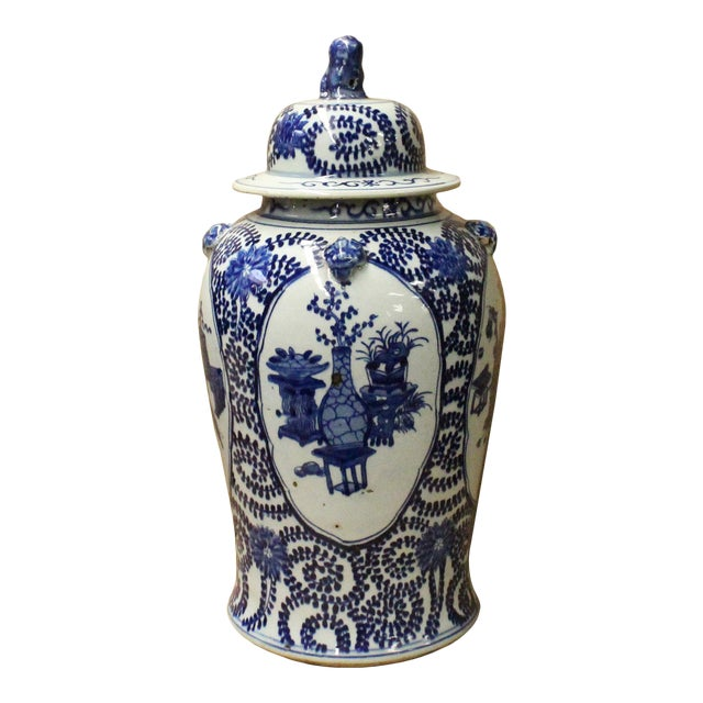 Chinese Blue & White Flowers Theme Porcelain Large General Jar - Image 1 of 7