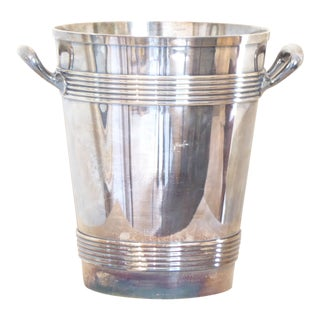 Vintage Chromed Silver Ice Bucket For Sale