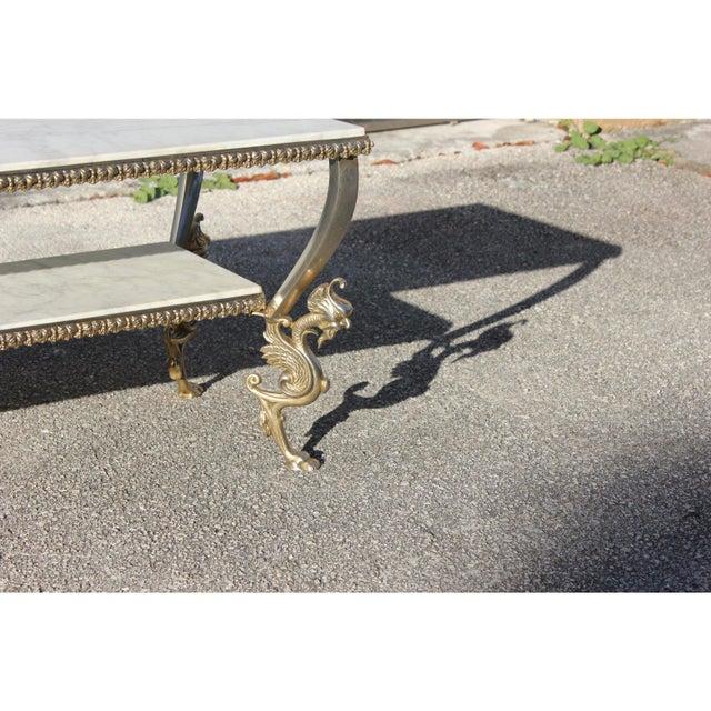 1940s 1940s Art Nouveau Maison Jansen Two-Tier Bronze ''Dragon Leg'' Coffee Table For Sale - Image 5 of 12