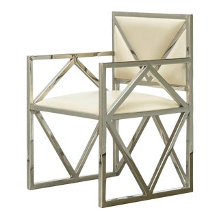 Contemporary Clover Cream Leather X Arm Chair, Accent Home Furniture, Living Room, Dining Room, Geometric Design-Stainless Steel For Sale