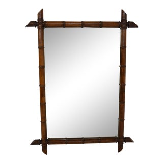 """19th-Century """"Faux Bamboo"""" Carved Wood Mirror For Sale"""