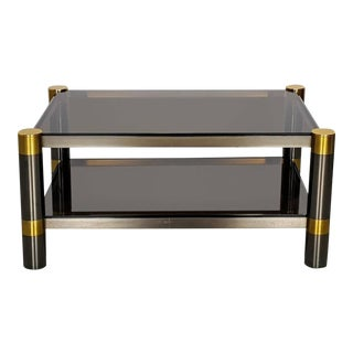 Karl Springer Gunmetal and Gold Tone Finish Coffee Table