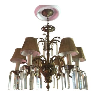 C. 1912 Bronze Spanish Chandelier With Lead Crystal For Sale