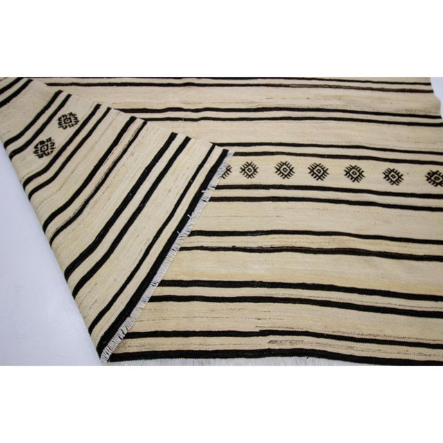 1960s 1960s Vintage Striped Natural Kilim Rug- 6′2″ × 12′1″ For Sale - Image 5 of 7