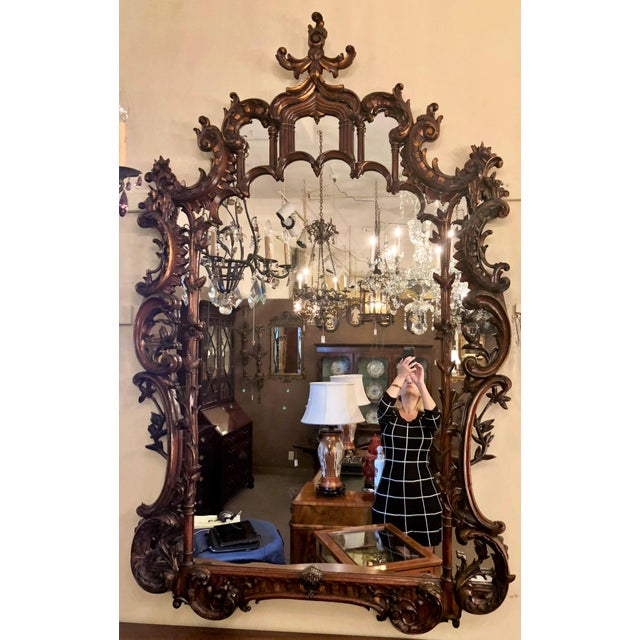 Late 19th Century Magnificent Antique 19th Century English Chippendale Carved Wood Mirror. For Sale - Image 5 of 5