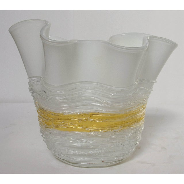 Vintage Italian vase with white and gold Murano glass by Camozzo, signed on the base / Made in Italy in the 1960's...