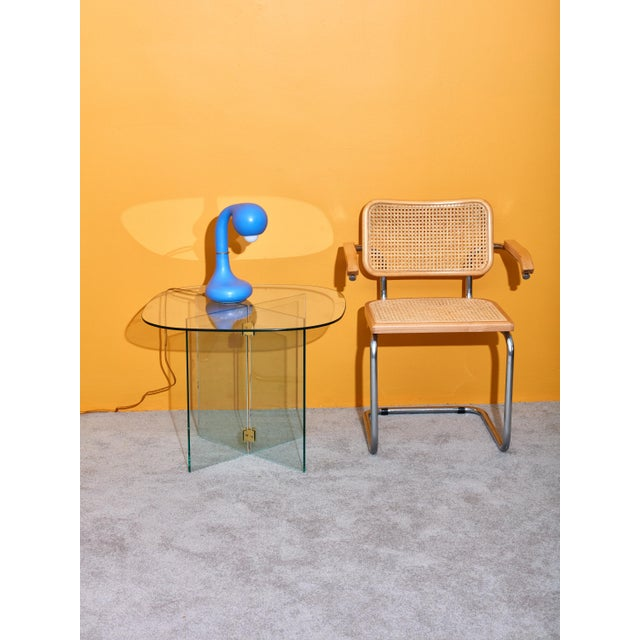 Modern Glass Side Table With Brass Brackets For Sale - Image 3 of 4