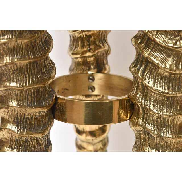 Metal 1970's Vintage Solid Brass and Marble Side Horn Table For Sale - Image 7 of 10