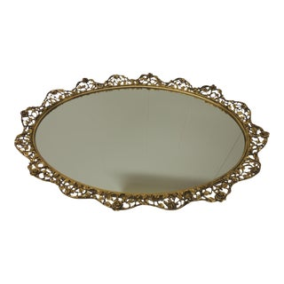 Large Gold Vintage French Filigree Oval Brass Vanity Tray With Mirror For Sale