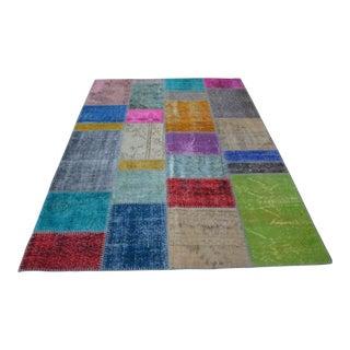 Oushak Anatolian Multicolour Patchwork Rug - 5′7″ × 8′ For Sale