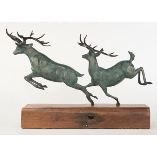 Two Running Stag Reindeer Bronze Statue For Sale - Image 9 of 9