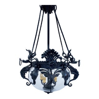 1920's Spanish Revival Gothic Forged Iron Dragon Chandelier For Sale