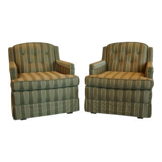 1960s Vintage Olive Green & Gold Chairs Armchair- A Pair For Sale